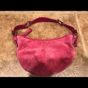 Pink Coach suede handbag